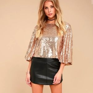 Lulu's Tops - Lulus Captivate Rose Gold Sequin Crop Top Small